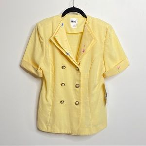 Leslie Fay Yellow Floral Vintage Pearl Blazer 10